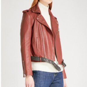 Maje Red Lamb Leather Biker Jacket